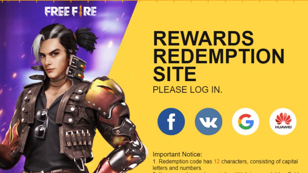 Free Fire Redeem Code august 2020