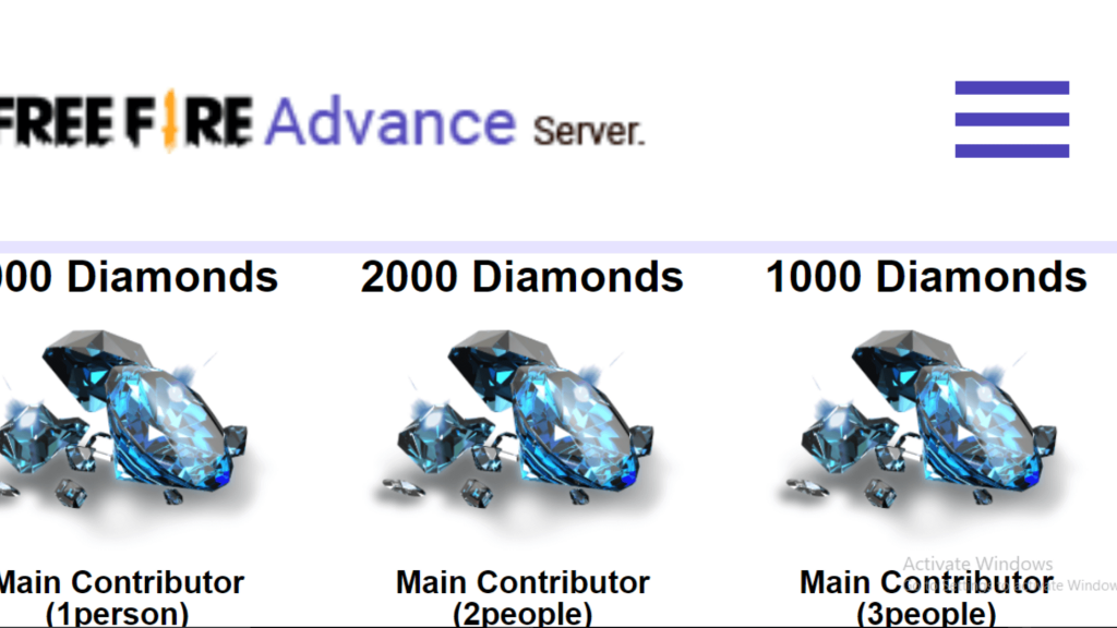 Free Fire Advance Servers Free Diamonds