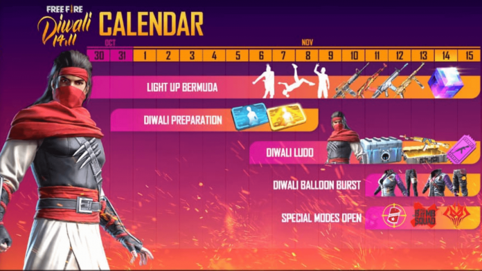 Free Fire Diwali event 2020 calendar