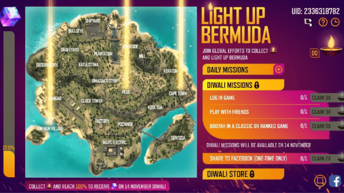 Free Fire Light Up Bermuda Diwali event Reward