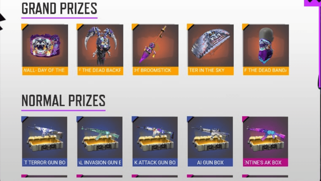 Free Fire Penta Flip Event Prize List