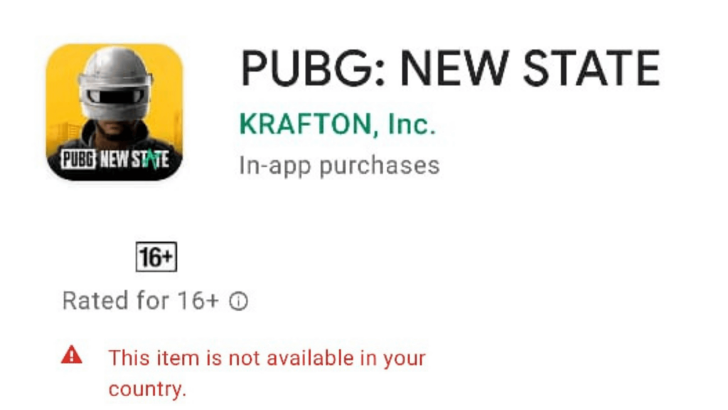 PUBG New State Mobile Game available Error