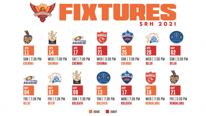 Sunrisers Hyderabad (SRH) IPL 2021 full schedule Update