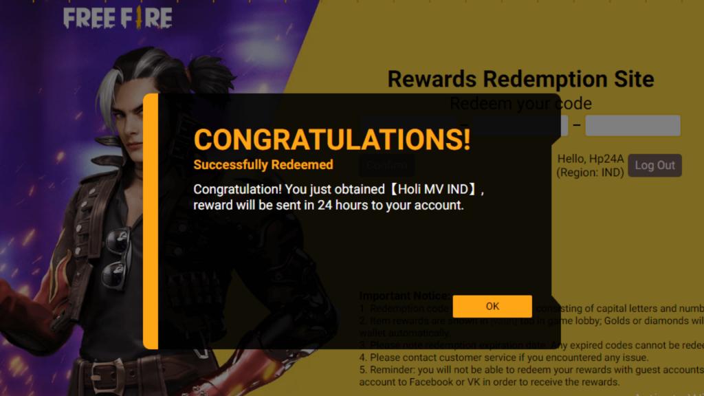 Today Free Fire Redeem Code Reward