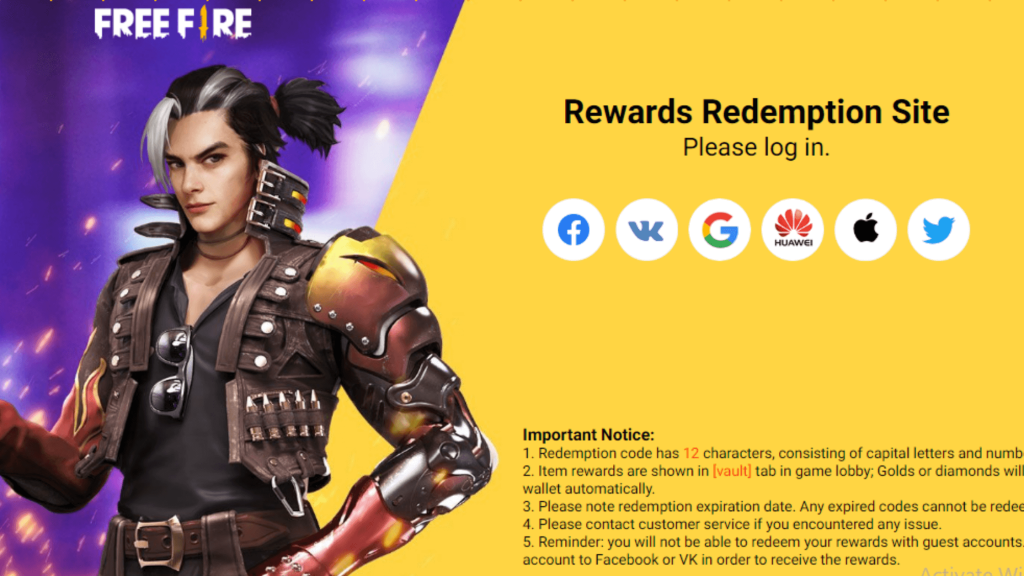 Today Free Fire Redeem Code Website