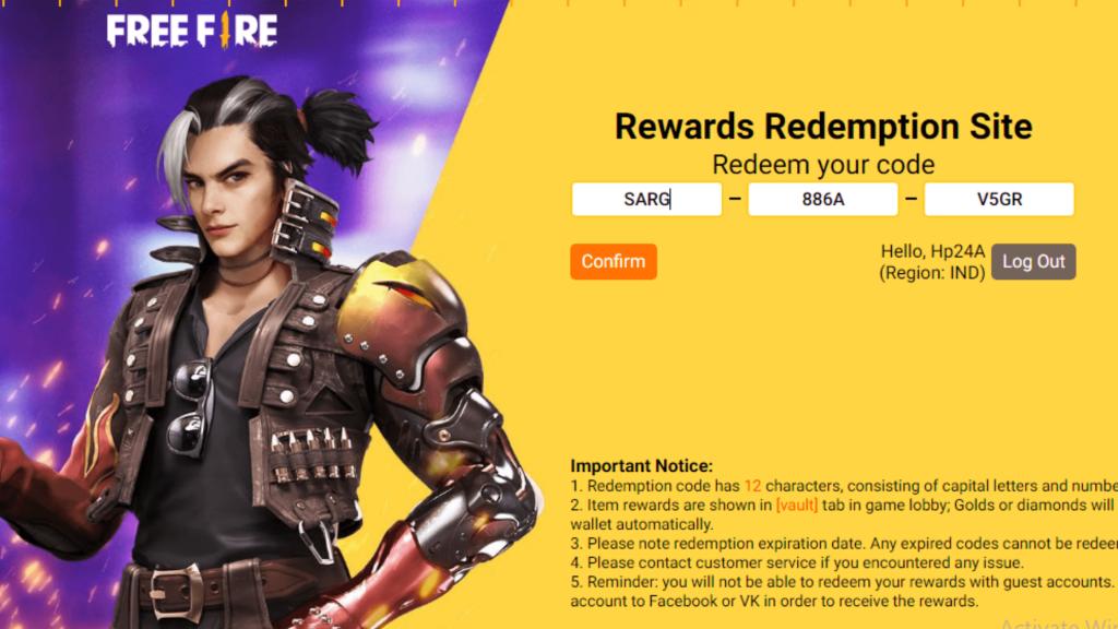 Today Free Fire Redeem Enter Code Website