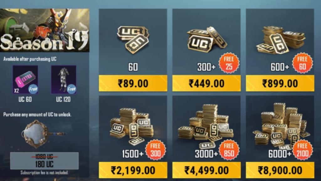 Battlegrounds Mobile India (BGMI) Royale Pass Buy UC