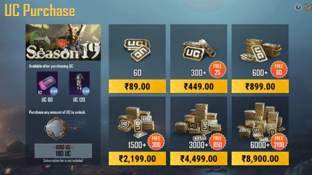Battlegrounds Mobile india UC Top UP Price