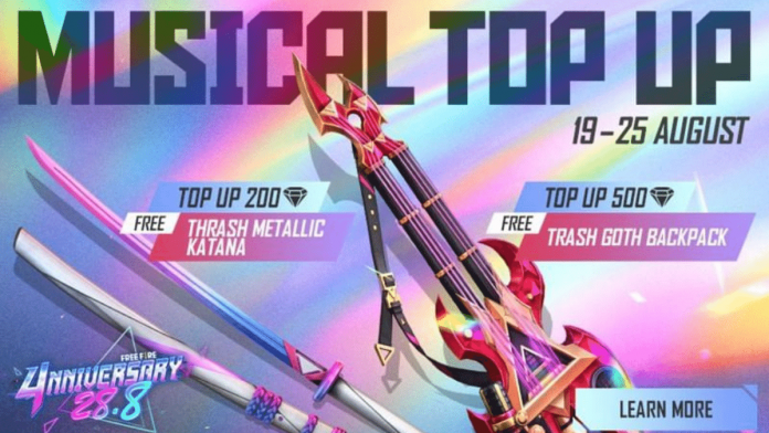 get free katana and legendary skins from the Free Fire Musical top up event